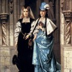 Bakalowicz Ladislaus Two Elegant Ladies Leaving A Church