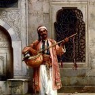 Chlebowski Stanislaus Von A Musician Playing Before A Mosque In Constantinople