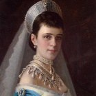 Kramskoi Portrait of Empress Maria Fyodorovna in a Head Dress Decorated with Pearls
