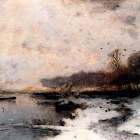 Gegerfelt William Von A Winter River Landscape At Sunset