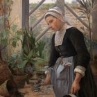 Breton Girl looking after Plants in Hothouse. (1884)
