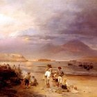 Achenbach Oswald Fishermen With The Bay Of Naples And Vesuvius Beyond