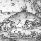 Bruegel d.a. Big Fishes Eat Little Fishes, 1556, pen drawing