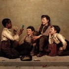John George Brown (1831-1913) - The Card Trick (1880-89 Joslyn Art Museum)