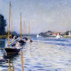 Caillebotte Gustave Boats on the Seine Sun