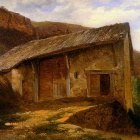 Calame Alexandre A farm House On The Side Of A Mountain