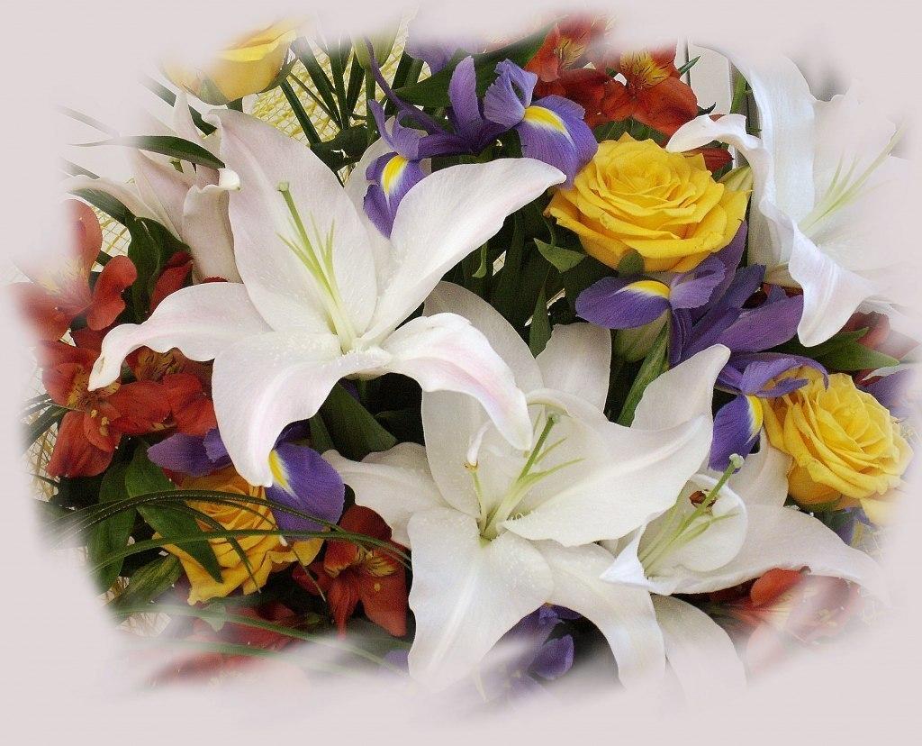 Открытка с днем рождения любимая с лилиями