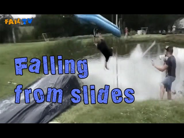 Смотреть видео Fail TV - Falling from slides #2