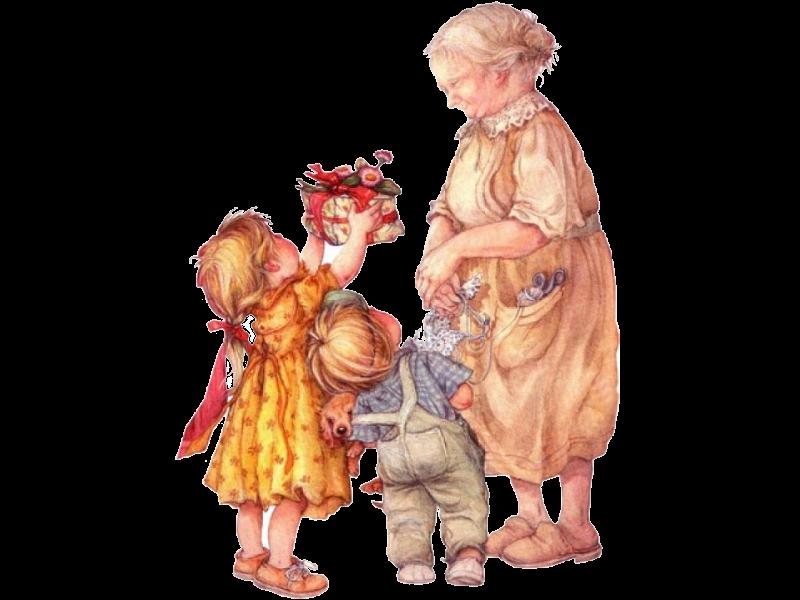 Открытка бабушка с внуками