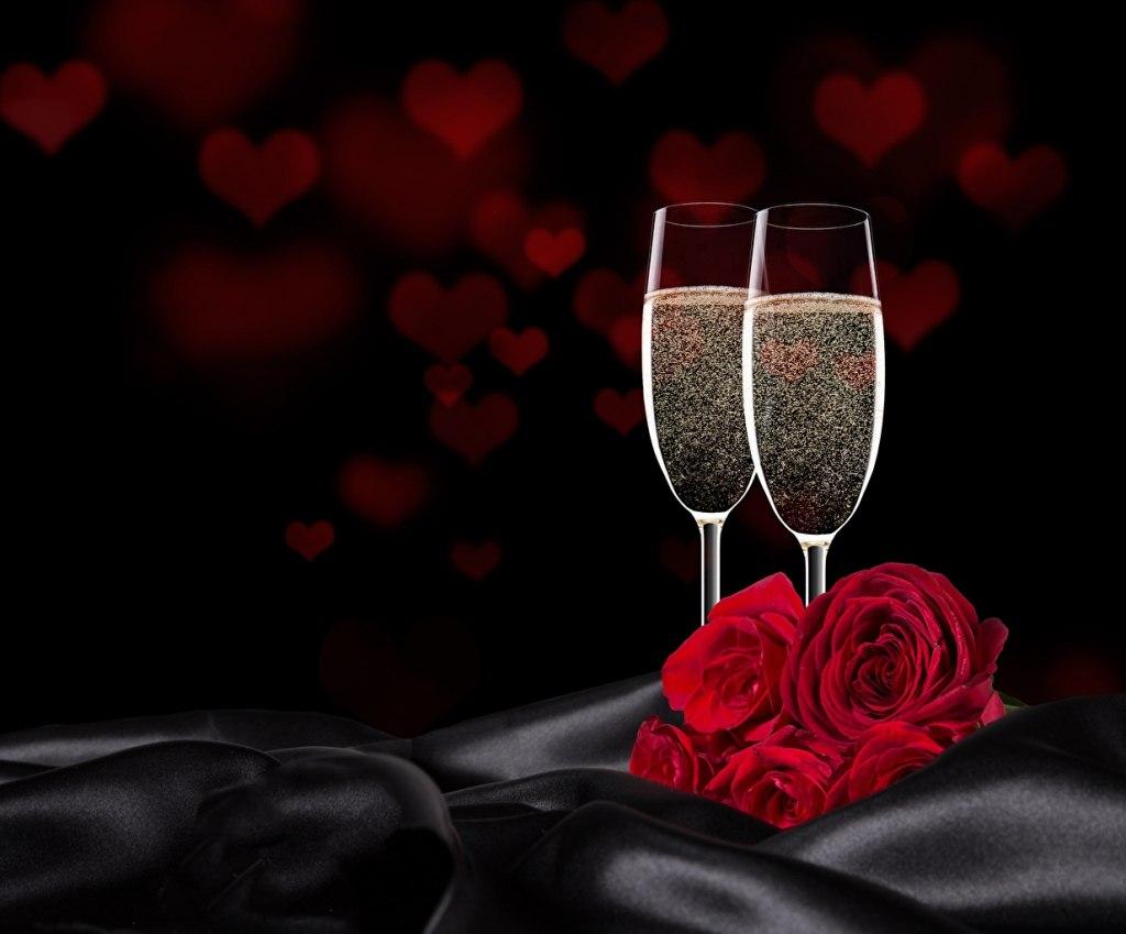 Картинки с днем рождения розы и бокалы