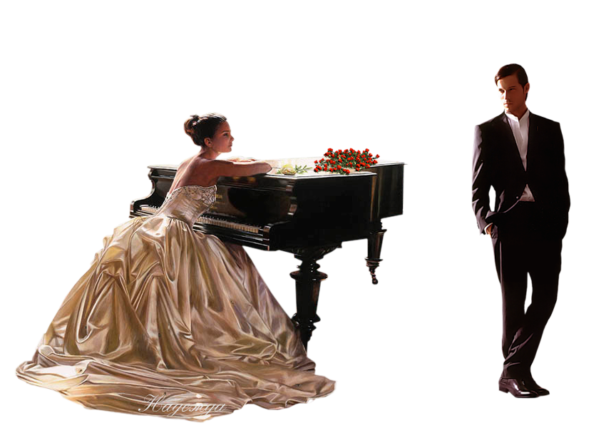 Картинка анимация за роялем